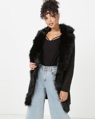 Sissy Boy Faux Fur Longer Length Coat Black