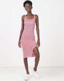 Sissy Boy Logo With Side Slit Stripe Dress Red/White