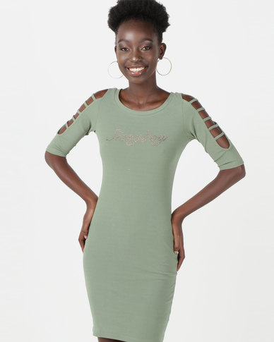 Sissy Boy Logo With Cut Sleeve Detail Dress Khaki