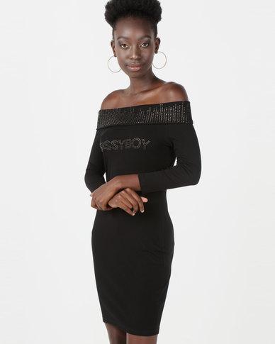 Sissy Boy Logo With Bling Detail Dress Black