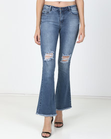 Sissy Boy Skinny Flare With Rips Med Vintage