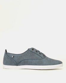 Pierre Cardin PU Lace Up Plimsoll Sneakers Blue