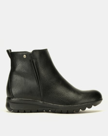Pierre Cardin Low Wedge Ankle Boots Black