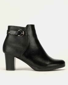 Pierre Cardin Block Heel Ankle Boots Black