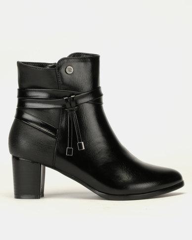 Pierre Cardin Block Heel Multi Strap Ankle Boots Black
