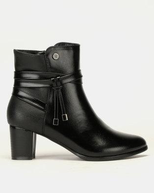 Pierre Cardin Block Heel Multi Strap Ankle Boots Black 6a0dfc1afff