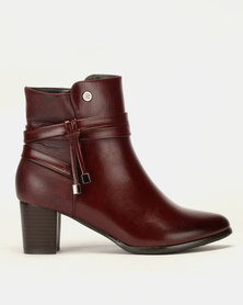 Pierre Cardin Block Heel Multi Strap Ankle Boots Burgundy