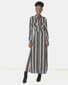 Brett Robson Lesedi Stripe Maxi Shirt Dress Black/White