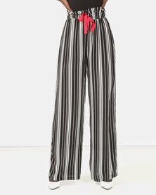 Brett Robson Maya Stripe Pants With Red Tape Ties Black/White