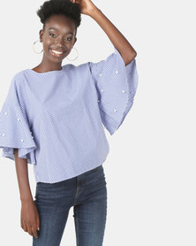 Brett Robson Kady Gingham Shell Top With Pearl Studs Blue