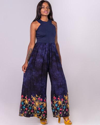Blue Mango Floral Wide-Leg Jumpsuit Blue