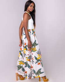 Blue Mango Floral Wide - Leg Jumpsuit White