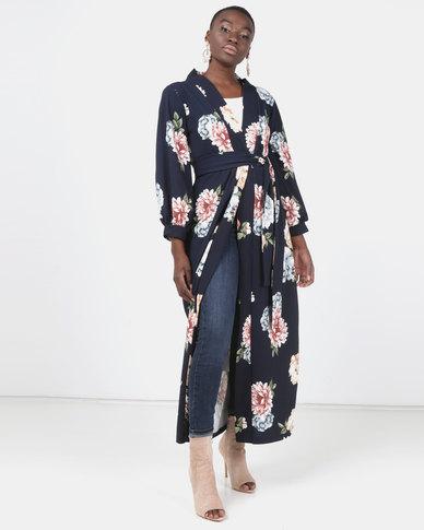 Modest Revolution Couture Maxi Kimono With Belt Floral