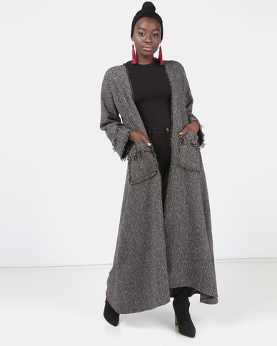 Modest Revolution Couture Maxi Coat With Frill Details Brown & Black