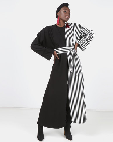 Modest Revolution Couture Half Print Maxi Coat With Belt Black/White