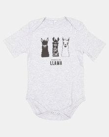 Phoenix & the Llama Be Cool Llama Body Vest Grey Melange Short Sleeves
