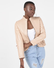 House of LB Diana Leather Jacket Beige