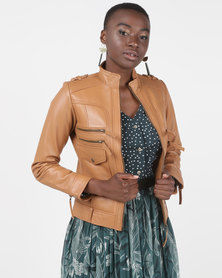 House of LB Madison Leather Jacket Tan