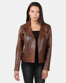 House of LB Serena Leather Jacket Brown