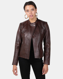 House of LB Bonnie Leather Jacket Chocolate