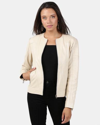 House of LB Amy Leather Jacket Ivory