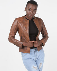House of LB Amy Leather Jacket Brown