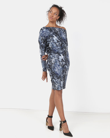 N'Joy Off Shoulder Snake Print Long Sleeve Dress Blue