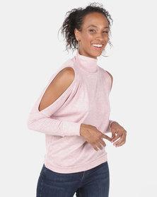 N'Joy Poloneck Open Shoulder Top Pink