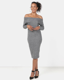 N'Joy Boatneck Mid Length Dress Grey