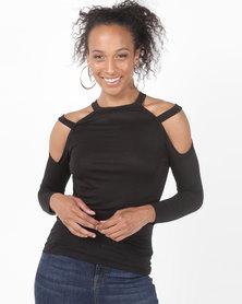 N'Joy Open Shoulder Double Strap Top Black