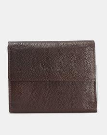 Pierre Cardin Celine Ladies Leather Trifold Wallet Brown