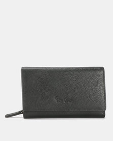 Pierre Cardin Dior Ladies Trifold Leather Wallet Black