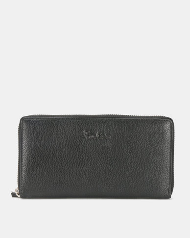 Pierre Cardin Coco Ladies Zip Around Leather Wallet Black