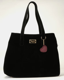 Pierre Cardin Suede Mona Shopper Bag Black