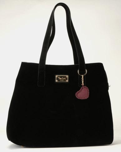 Pierre Cardin Suede Mona Shopper Bag Black