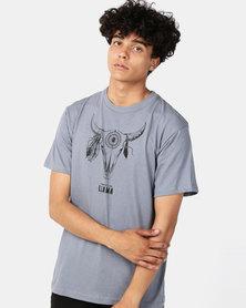 Phoenix & the Llama Boho Bull Skull T-Shirt Regular Fit Grey