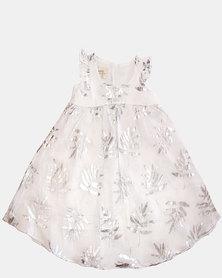 Razberry Kids White Linen Dress with Foil Print