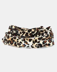 Black Lemon Knotted Head Band Leopard