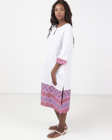 Kieke Long Kaftan With Print White