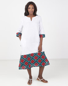 Kieke Long Kaftan With Print Red Multi