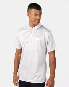 CUSTOM APPAREL Flamingo Golf Shirt Grey/Pink