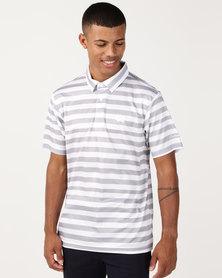 Custom Apparel Stripe Golf Shirt - Grey/White