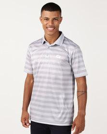 CUSTOM APPAREL Stripe Golf Shirt Grey