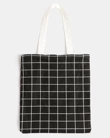 You & I Grid Tote Bag Black