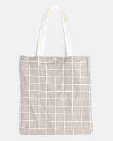 You & I Grid Tote Bag Grey