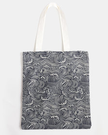 You & I Patterned Tote Bag Black and White