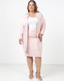 Queenspark Plus Longer Length Brocade Woven Jacket Pink