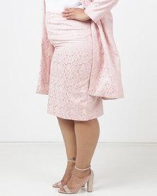Queenspark Plus Woven Brocade Pencil Skirt Pink