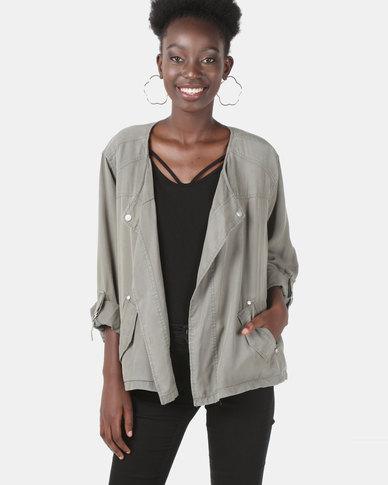 Miss Cassidy By Queenspark Tencel Woven Jacket Khaki