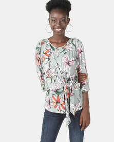 Miss Cassidy By Queenspark Kimono Wrap Knit Top Sage